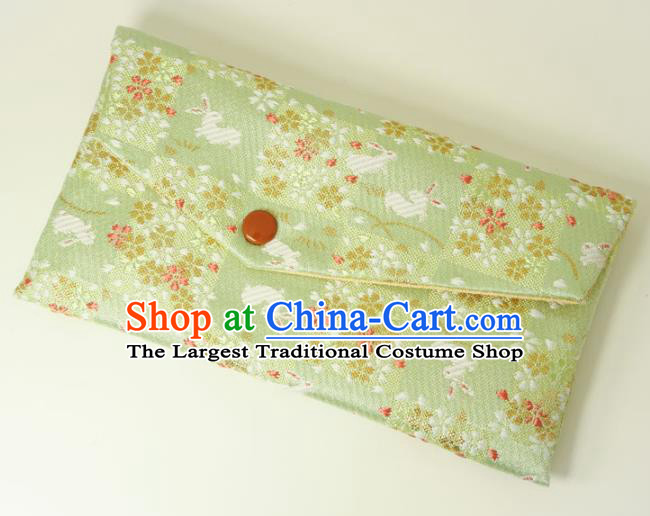 Japanese Traditional Classical Orchid Rabbits Pattern Green Brocade Handbag Asian Japan Nishijin Satin Bags Wallet
