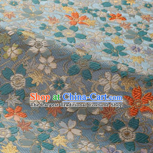 Japanese Traditional Kimono Classical Sakura Pattern Light Blue Brocade Damask Asian Japan Satin Drapery Silk Fabric