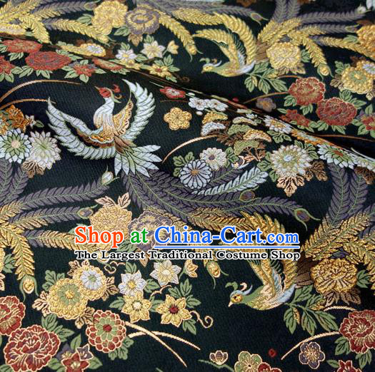 Japanese Traditional Kimono Classical Phoenix Peony Pattern Black Brocade Damask Asian Japan Satin Drapery Silk Fabric