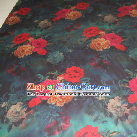 Asian Chinese Cheongsam Classical Peony Pattern Dark Green Gambiered Guangdong Gauze Satin Drapery Brocade Traditional Brocade Silk Fabric