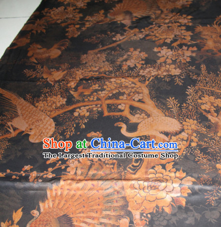 Chinese Traditional Cheongsam Classical Peacock Pattern Black Gambiered Guangdong Gauze Asian Satin Drapery Brocade Silk Fabric