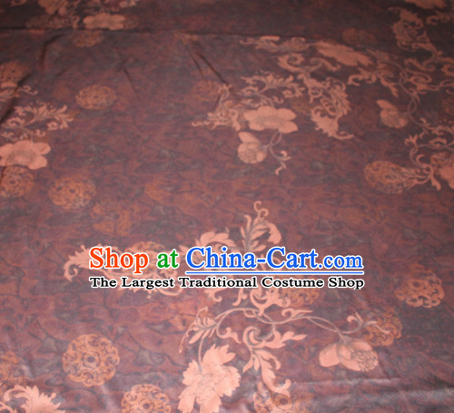 Chinese Traditional Cheongsam Classical Pattern Purple Gambiered Guangdong Gauze Asian Satin Drapery Brocade Silk Fabric