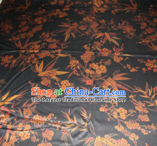 Chinese Traditional Cheongsam Classical Plum Bamboo Pattern Black Gambiered Guangdong Gauze Asian Satin Drapery Brocade Silk Fabric