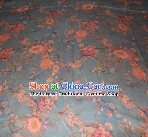 Chinese Traditional Cheongsam Classical Peach Flowers Pattern Navy Gambiered Guangdong Gauze Asian Satin Drapery Brocade Silk Fabric