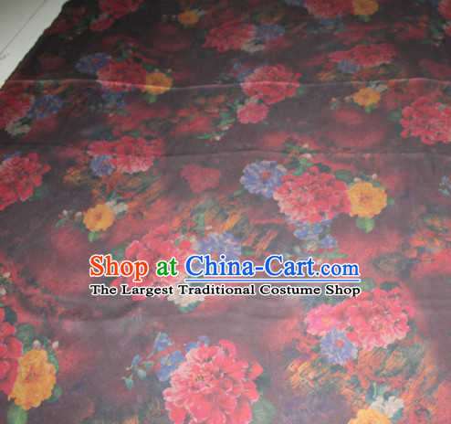 Chinese Traditional Cheongsam Classical Flowers Pattern Wine Red Gambiered Guangdong Gauze Asian Satin Drapery Brocade Silk Fabric