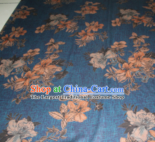 Chinese Traditional Cheongsam Classical Pattern Blue Gambiered Guangdong Gauze Asian Satin Drapery Brocade Silk Fabric