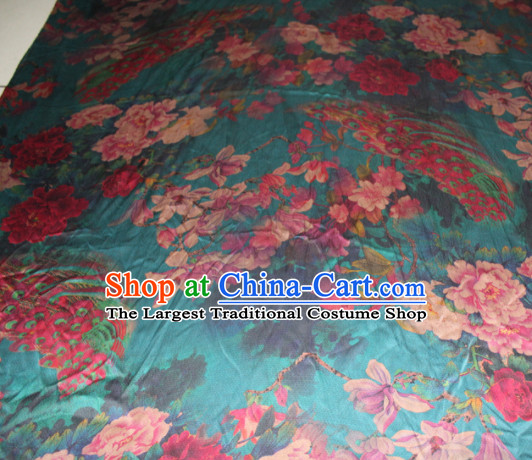 Chinese Traditional Cheongsam Classical Magnolia Peony Pattern Green Gambiered Guangdong Gauze Asian Satin Drapery Brocade Silk Fabric