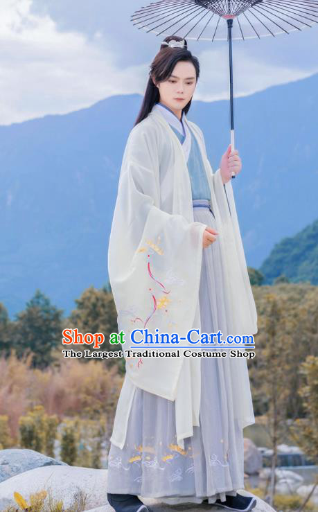 Chinese Ancient Swordsman Hanfu Clothing Antique Traditional Southern and Northern Dynasties Nobility Childe Historical Costume for Men