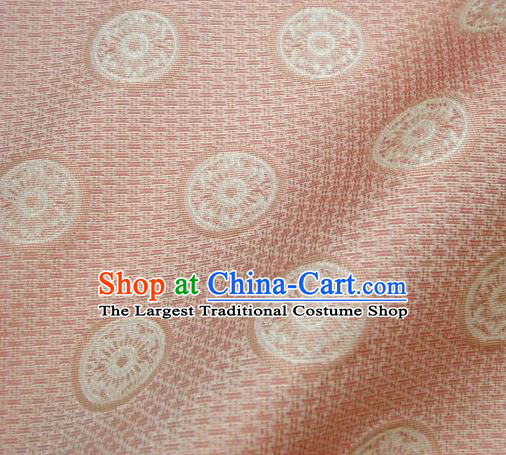 Japanese Traditional Kimono Classical Pattern Pink Brocade Damask Asian Japan Nishijin Satin Drapery Silk Fabric