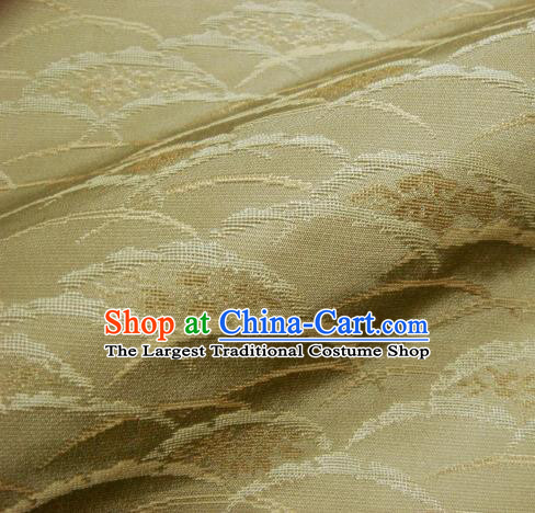 Japanese Traditional Kimono Classical Wave Pattern Golden Brocade Damask Asian Japan Nishijin Satin Drapery Silk Fabric