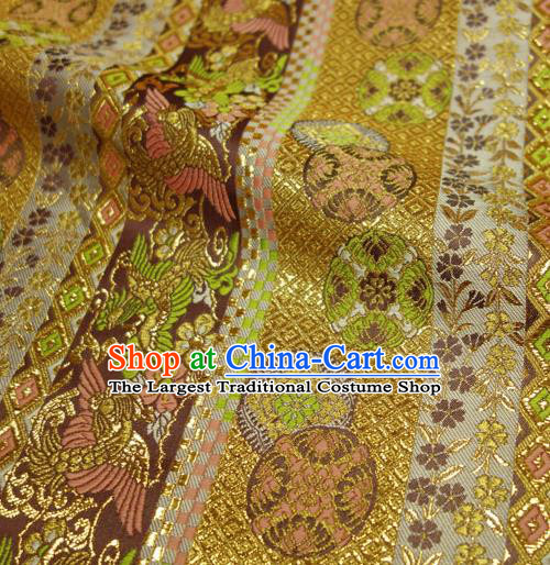 Japanese Traditional Kimono Classical Round Phoenix Pattern Golden Brocade Damask Asian Japan Nishijin Satin Drapery Silk Fabric