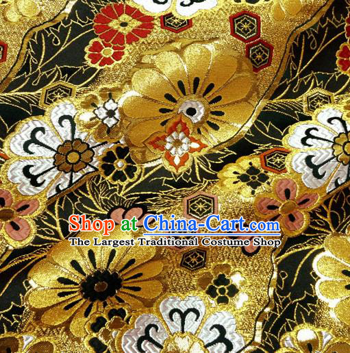 Japanese Traditional Kimono Classical Daisy Pattern Black Brocade Damask Asian Japan Nishijin Satin Drapery Silk Fabric