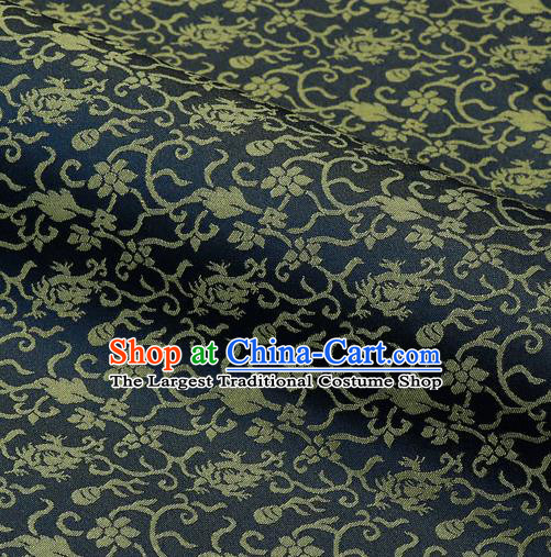 Japanese Traditional Kimono Classical Pattern Navy Brocade Damask Asian Japan Nishijin Satin Drapery Silk Fabric