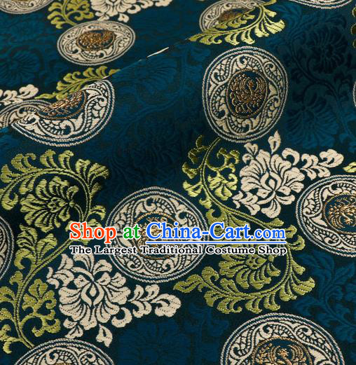 Japanese Traditional Kimono Classical Phoenix Pattern Navy Brocade Damask Asian Japan Nishijin Satin Drapery Silk Fabric