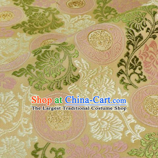 Japanese Traditional Kimono Classical Phoenix Pattern Beige Brocade Damask Asian Japan Nishijin Satin Drapery Silk Fabric
