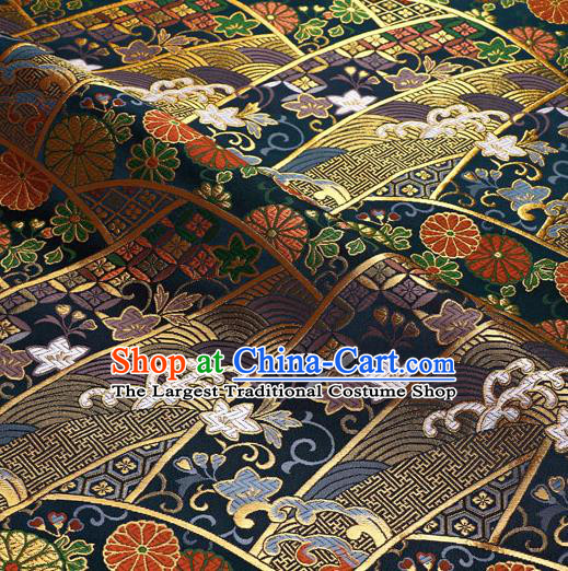 Japanese Traditional Kimono Classical Chrysanthemum Pattern Navy Brocade Damask Asian Japan Nishijin Satin Drapery Silk Fabric