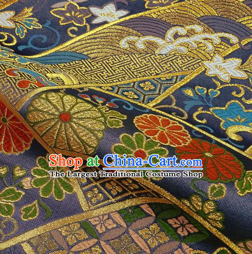 Japanese Traditional Kimono Classical Chrysanthemum Pattern Purple Brocade Damask Asian Japan Nishijin Satin Drapery Silk Fabric