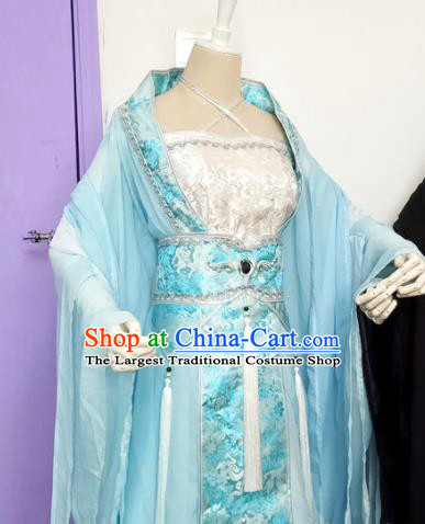 Chinese Cosplay Princess Costume Ancient Goddess Swordswoman Blue Dress for Women