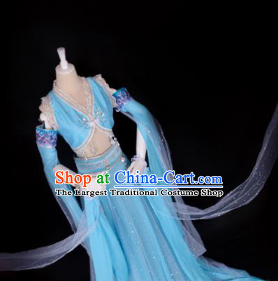 Chinese Cosplay Swordswoman Costume Ancient Goddess Blue Dress for Women