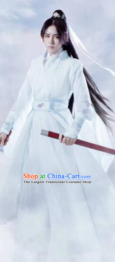Customized Chinese Traditional Cosplay Swordsman White Costume Ancient Drama Childe Clothing for Men