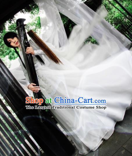 Customized Chinese Traditional Cosplay Prince Swordsman White Costume Ancient Drama Childe Clothing for Men