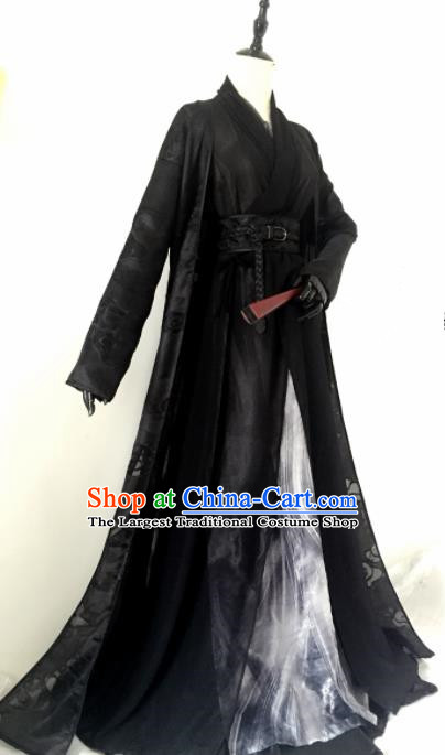 Customized Chinese Traditional Cosplay Prince Swordsman Black Costume Ancient Drama Childe Clothing for Men