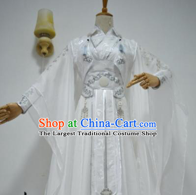 Chinese Customized Traditional Cosplay Taoist Swordsman Costume Ancient Drama Childe White Clothing for Men