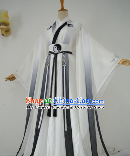 Chinese Customized Traditional Cosplay Taoist White Costume Ancient Drama Childe Swordsman Clothing for Men