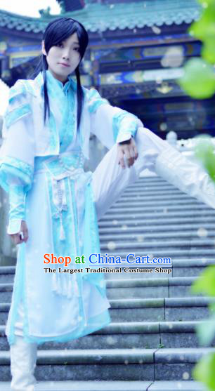 Chinese Customized Traditional Cosplay Young Knight Costume Ancient Drama Childe Swordsman Clothing for Men