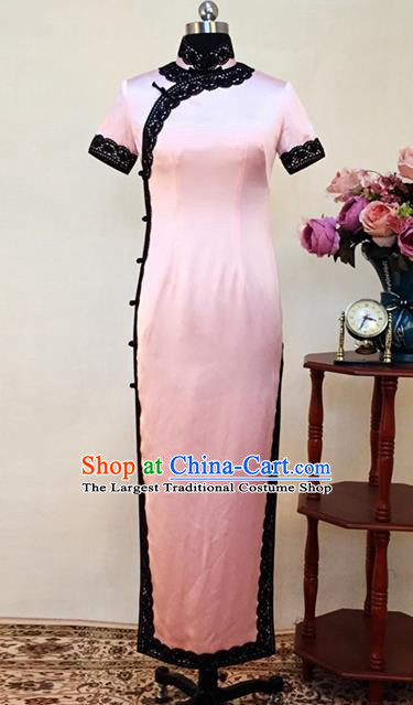 Chinese Traditional Customized Pink Silk Cheongsam National Costume Classical Qipao Dress for Women