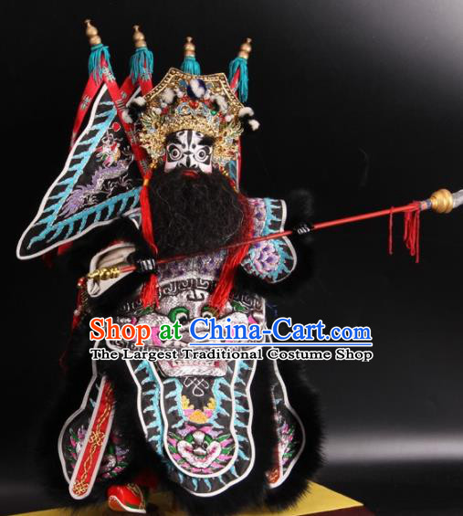 Traditional Chinese Handmade General Zhang Fei Puppet String Puppet Wooden Image Marionette Puppets Arts Collectibles