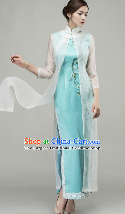 Chinese Traditional Customized Blue Silk Cheongsam National Costume Classical Qipao Dress for Women