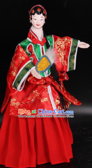 Traditional Chinese Handmade Red Beauty Puppet Marionette Puppets String Puppet Wooden Image Arts Collectibles