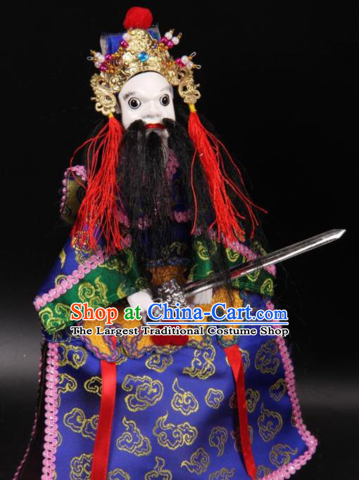 Traditional Chinese Handmade General Blue Marionette Puppets Old Men Puppet String Puppet Wooden Image Arts Collectibles