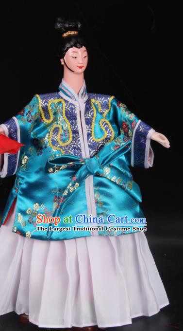 Traditional Chinese Handmade Blue Beauty Puppet Marionette Puppets String Puppet Wooden Image Arts Collectibles