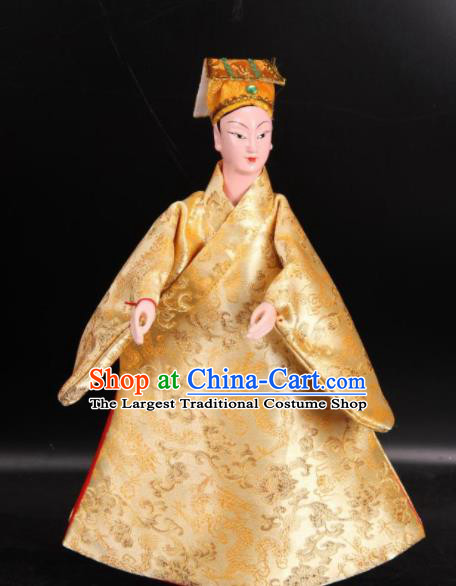 Traditional Chinese Handmade Golden Robe Gifted Scholar Puppet Marionette Puppets String Puppet Wooden Image Arts Collectibles