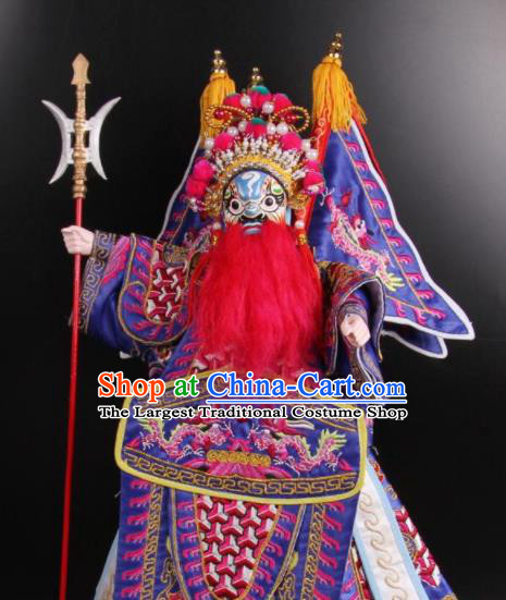 Traditional Chinese Handmade Purple Clothing General Puppet Marionette Puppets String Puppet Wooden Image Arts Collectibles