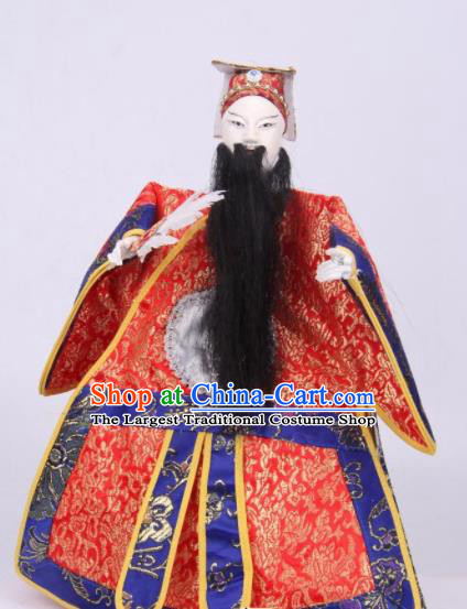 Traditional Chinese Handmade Red Clothing Zhu Geliang Puppet Marionette Puppets String Puppet Wooden Image Arts Collectibles