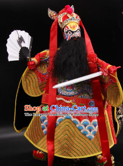 Traditional Chinese Handmade Red Zhong Kui Puppet Marionette Puppets String Puppet Wooden Image Arts Collectibles