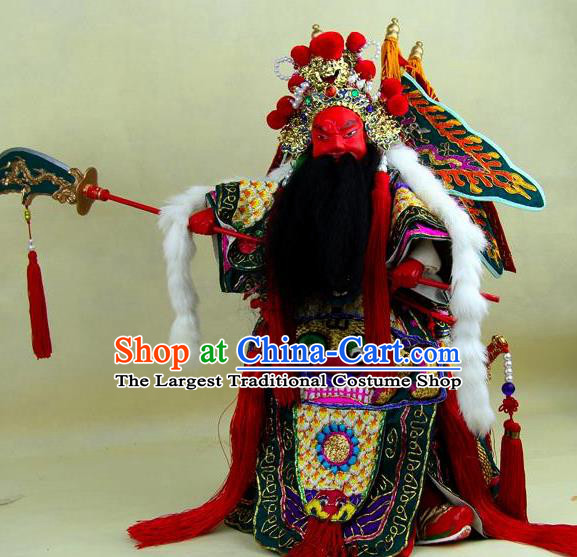 Chinese Traditional Green General Guan Yu Marionette Puppets Handmade Puppet String Puppet Wooden Image Arts Collectibles