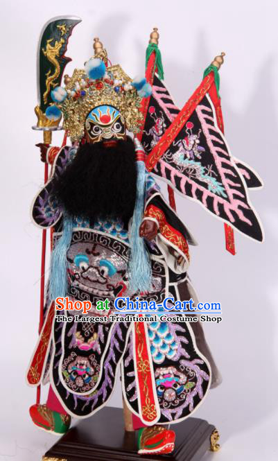 Traditional Chinese Black General Zhou Cang Marionette Puppets Handmade Puppet String Puppet Wooden Image Arts Collectibles