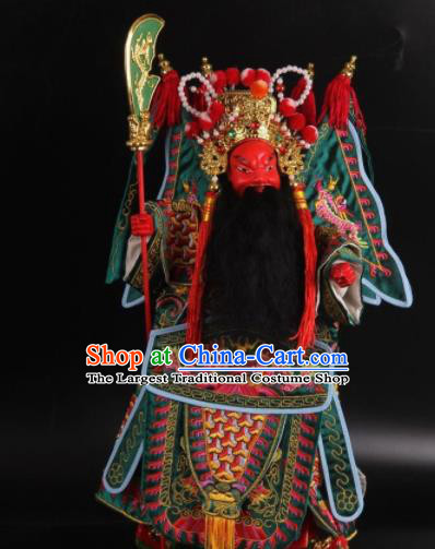 Traditional Chinese Green General Guan Yu Marionette Puppets Handmade Puppet String Puppet Wooden Image Arts Collectibles