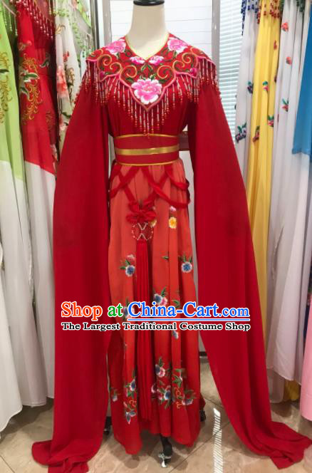Traditional Chinese Handmade Beijing Opera Diva Costumes Ancient Peri Red Dress for Women