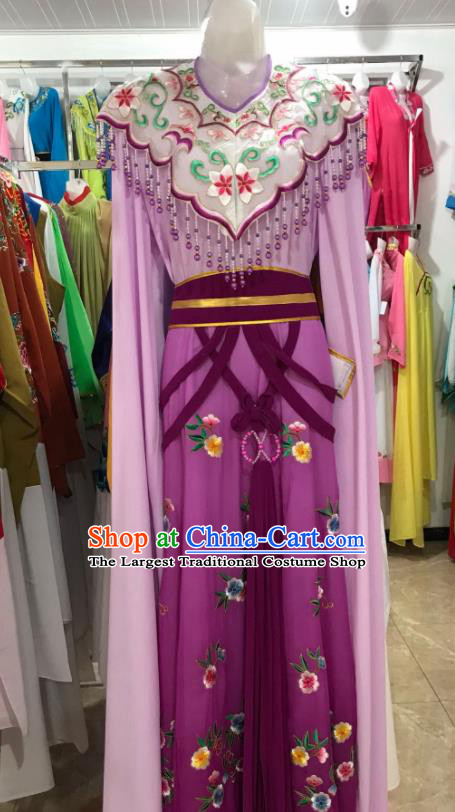 Traditional Chinese Handmade Beijing Opera Diva Costumes Ancient Peri Princess Purple Dress for Women