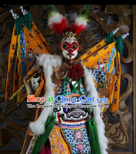 Traditional Chinese Yellow Handsome Monkey King Marionette Puppets Handmade Puppet String Puppet Wooden Image Arts Collectibles