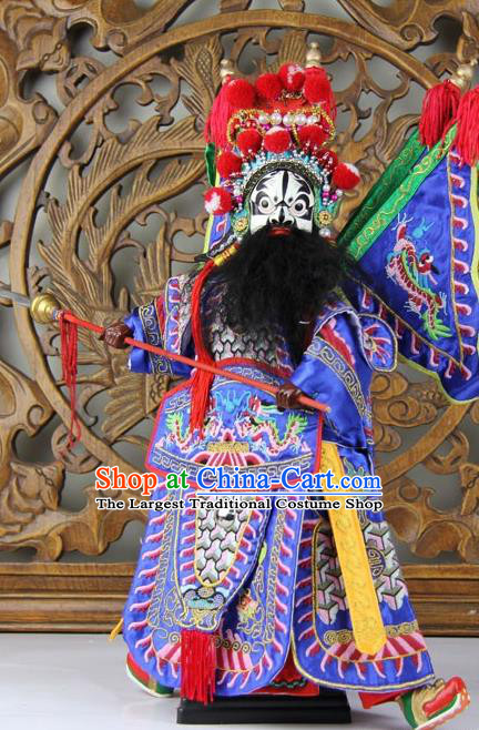 Traditional Chinese Blue General Zhang Fei Marionette Puppets Handmade Puppet String Puppet Wooden Image Arts Collectibles
