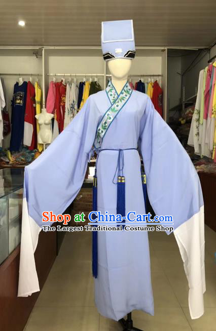 Traditional Chinese Huangmei Opera Niche Costumes Ancient Scholar Lilac Robe for Men