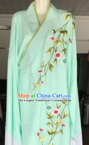 Traditional Chinese Huangmei Opera Niche Costumes Ancient Scholar Embroidered Green Robe for Men