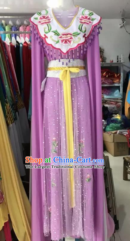 Traditional Chinese Handmade Beijing Opera Lin Daiyu Costumes Ancient Peri Princess Purple Dress for Women