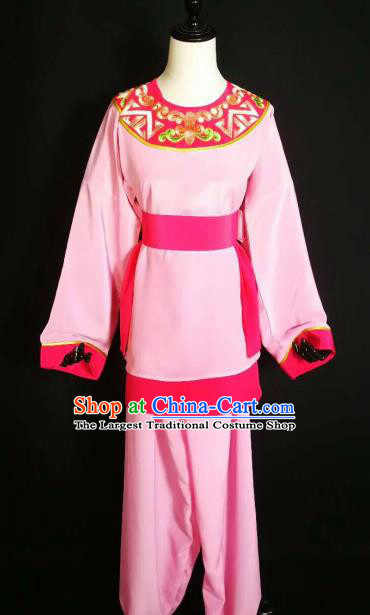 Traditional Chinese Huangmei Opera Servant Pink Costumes Ancient Livehand Clothing for Men